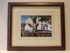 Print framed using washline mounts.