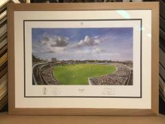 Lords print by cricketer Jack Russell. Solid oak frame with Tru Vue reflection glass.