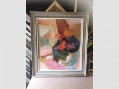 An original John Hitchens oil painting framed with silver hand finished moulding