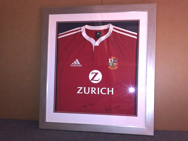 Signed British Lions Rugby Shirt in a Box Frame.