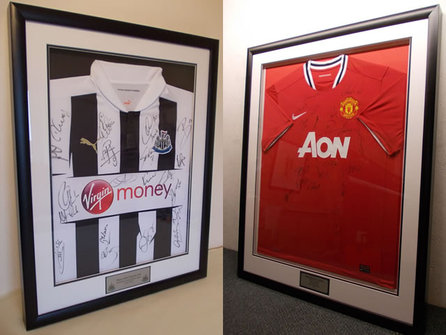 Signed Newcastle Utd and Manchester Utd Football Shirts in Box Frames.
