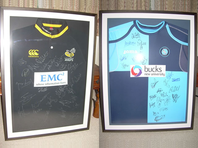 Signed Wasps Rugby Shirt and Signed Wycombe Wanders Football Shirt.