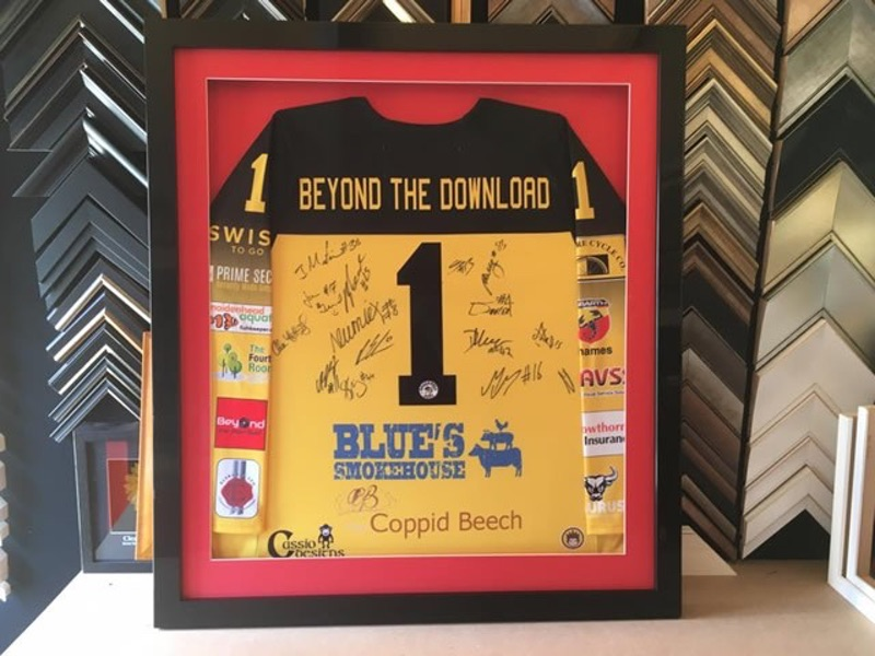 Fully signed Bracknell Bees ice hockey shirt for their sponsors independent record shop Beyond the Download in Wokingham.