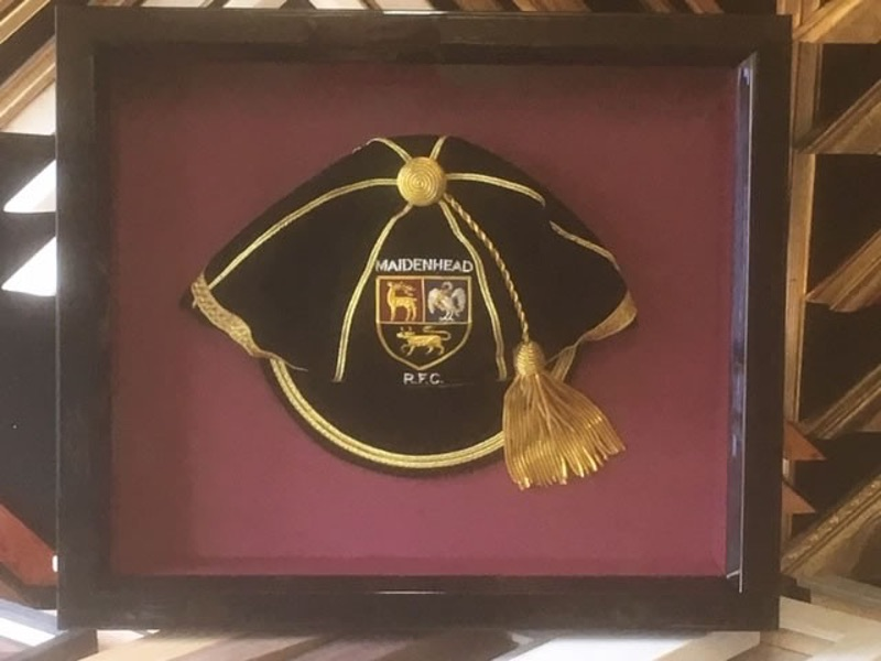 Maidenhead Rugby Club players cap framed in a gloss black moulding