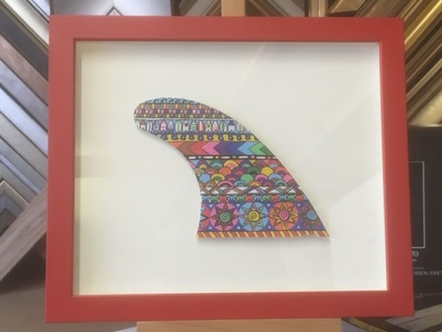 Painted Surfboard Fin Framed in a Box Frame